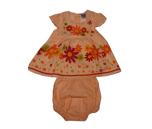 ba3b6f3df Cotton Poly Mix Pikaboo Baby Flowery Frock - Orange For Girls