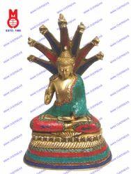 Buddha Sitting W/Cobra W/Stone Work Statue