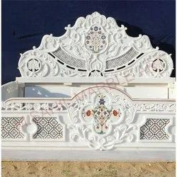 Marble Bed With Inlay Work