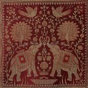 Maroon Brocade Elephant Table Runner Table Cloth