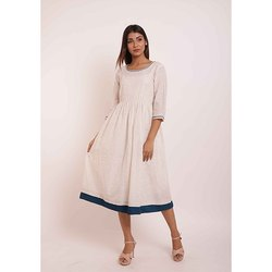 Round Neck Cotton Gathered Kurti