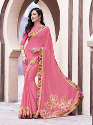 Embroidered Chiffon Flower Printed Border Saree