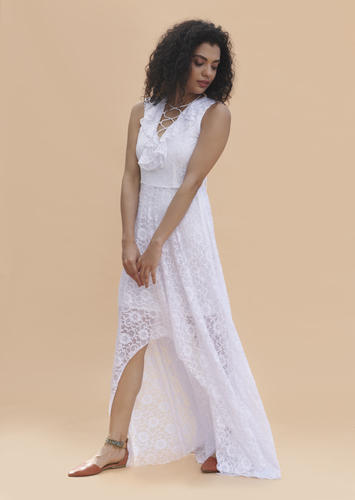 2f21d4bde783 Khwaab White Lace Tie Up Front High-Low Dress, Size: S, M And L, Rs ...