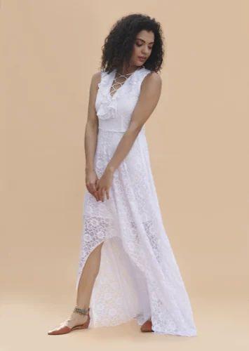 White High Low Dress