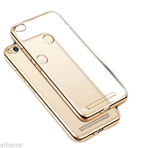 huge discount 73fe9 a8d4f Mobile Back Cover - Transparent TPU Gold Boarder Soft Cover Case for ...
