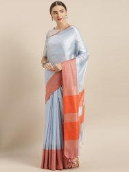 Grey Solid Linen Silk Blend Saree with Blouse piece