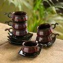 ExclusiveLane 'Crimson Mascarene' Hand Glazed Studio Pottery Ceramic Tea Cups & Saucers Set (Set Of