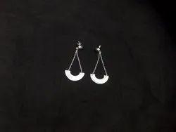 Black Druzy Round Shape Silver Plated Gemstone Earring Set