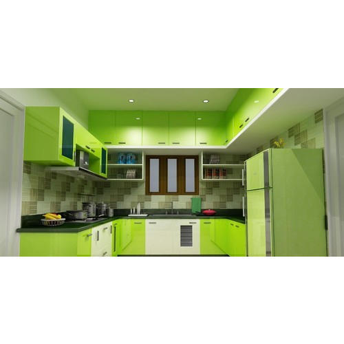 U Shape Wooden High Glass Light Green And White Modular Kitchen Rs