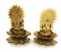 Gold Plated Laxmi Ganesha Kamal