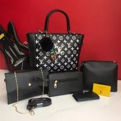 PU Leather Printed Imported 5pc Set Combo Bag