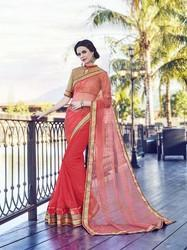 Half Net And Georgette Saree