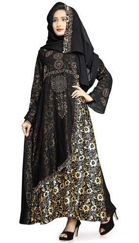 Black Women S Dubai Style Printed Burkha Abaya Rs 1370 Piece Id