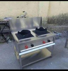 Goodluckstainlesssteel LPG 2 Burner Chinese Range, For Restaurant