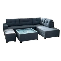 Suede Fabric 7 Seater Office L Shape Sofa Set