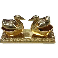 Duck Shaped Metal Bowl Set Tray