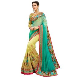 Georgette Half Embriodery Saree