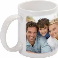 Mug Siramic White Mug, Size: H 3.5inch L 8inch