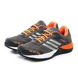 Mens Dark Grey Orange Synthetic Walking Shoes