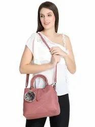 Embroidered Handbag with Hanging Pom Pom