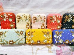 Embroidered Box Clutch Bag