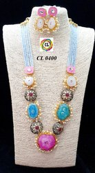 Cl Code Bollywood Fashion Jewelry Druzy Crystal Antique Kundan Beads Statement Jewelry Necklace