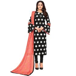 Rajnandini Black Chanderi Silk Printed Semi-Stitched Dress Material With Printed Dupatta
