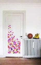 Printed Door Wallpaper Drapes Designing