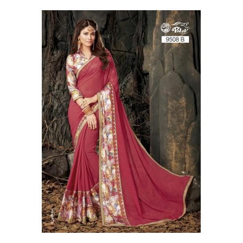 Red Parchayee Synthetic Saree
