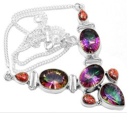 Mystic Topaz with Fire Opal 925 Sterling Silver Necklaces