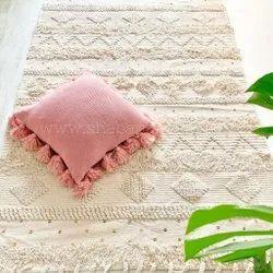 Boho Handwoven Cotton Area Rug Floor Carpet Bohemian Design Moroccan Rug
