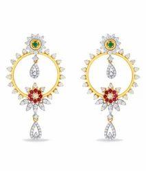 Engagement And Wedding Golden Jazlyn Colour Stone Chandbali Earrings