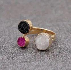 Stone White Black Pink White Round Sugar Druzy Ring Gemstone Jewelry