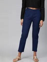 Plain Blue Cotton Regular Pants