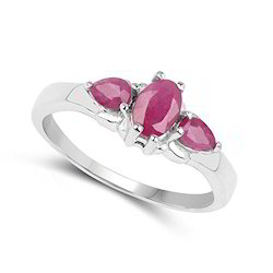 925 Sterling Silver Genuine Ruby Ring