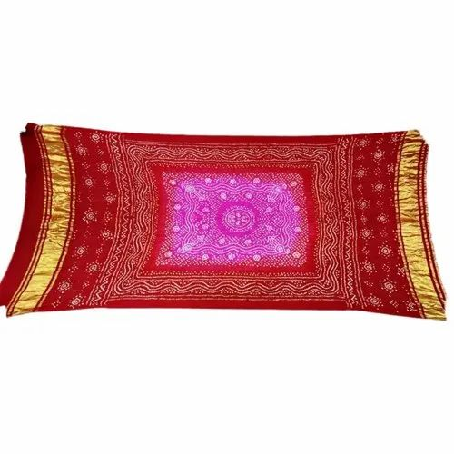 Pink And Red Shaded Color Chandrakhani Design Gaji Silk Bandhani Dupatta