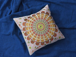 Indian Mandala Embroidery With Chambray Design Bright Colour Cushion Cover.