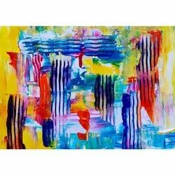 NAAG Uv Coated Flowing Colours Art Painting, Pattern: Printed