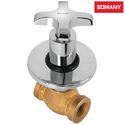 Stainless Steel Somany Heavy Body Aura Concealed Stop Cock With Wall Flange