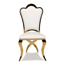 Gold  White Stainless Steel Dining Chair