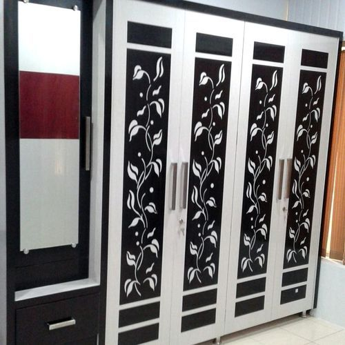White And Black Designer PVC Wardrobe