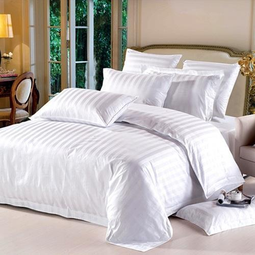 Divine Stripped Luxurious White Cotton Bed Sheet Set
