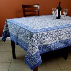 Cotton Square Block Print Printed Tablecloths, Size: 60x90 Inches