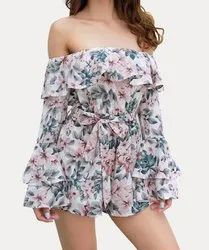 Off Shoulder Ruffled Play Suit