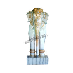 A Royal Elephant Welcome Statue In White Colour
