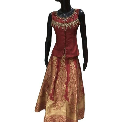 5de59b461f8ced Multicolor Chiffon Indian Long Skirt With Top