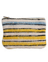 Cotton Durrie Lace Work Yellow Women Hand Pouch Bags
