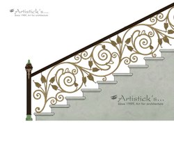 Brass stair railing