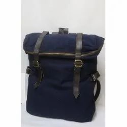 Fabric And Leather Plain Blue Laptop Bags