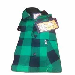 Green And Black Cotton Mens Casual Check Shirt